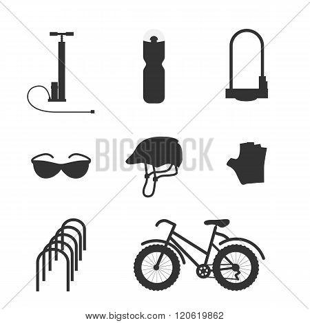 Bicycle equipment vector set