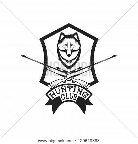 Hunting Club Crest With Carbines And Fox
