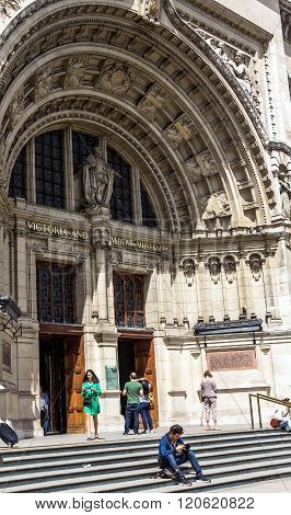 The Impressive Facade Of The Victoria And Albert Museum In London,