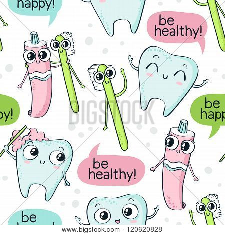 Vector Seamless Pattern With Cute Childish Characters - Tooth, Toothpaste And Toothbrush - And Speec