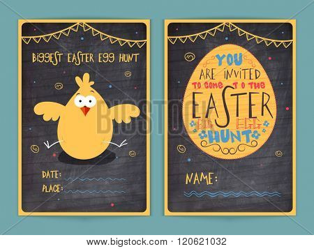 Creative two page Invitation Card design in chalkboard style with illustration of cute chick for Easter Big Egg Hunt celebration.
