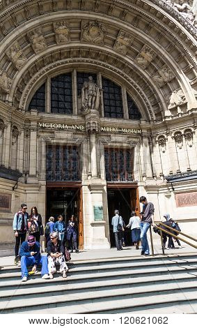 The Impressive Facade Of The Victoria And Albert Museum In London