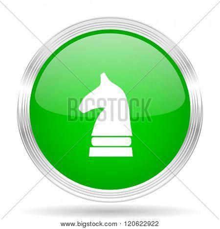 chess horse green modern design web glossy icon