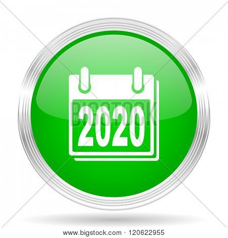 new year 2020 green modern design web glossy icon