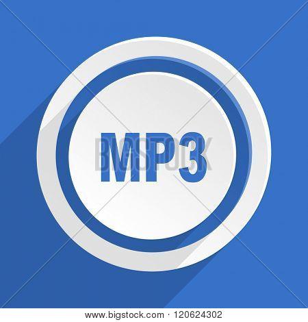 mp3 blue flat design modern icon