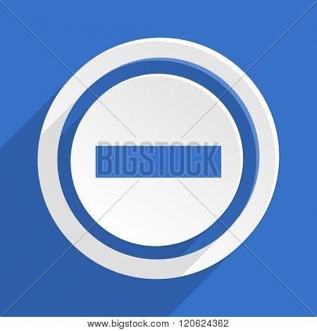 minus blue flat design modern icon