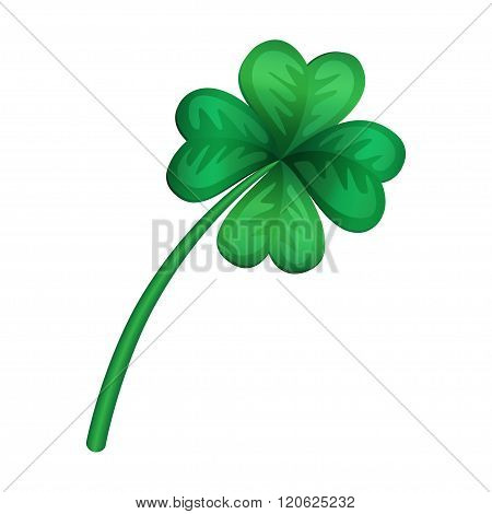 Clover Cartoon Style Isolated On White Background, Vector Illustration Icon. Vector Clover.