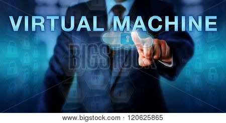 System Administrator Touching Virtual Machine