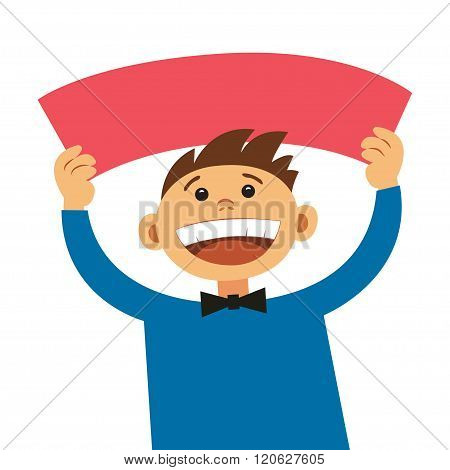 Funny Cartoon Man Holding Blank Sign. Smiling Happy Boy, With Empty Blank Poster Signboard, Cartoon