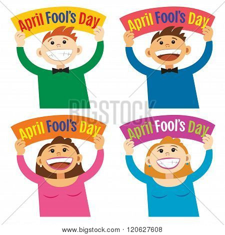 Funny Cartoon People Holding Sign April Fools Day. Smiling Happy People, With Poster Signboard.