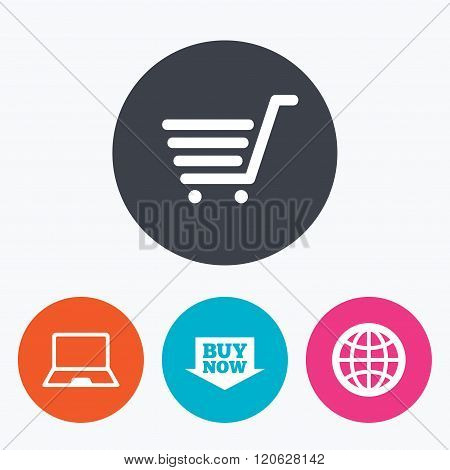 Online shopping icons. Notebook pc, cart, buy.