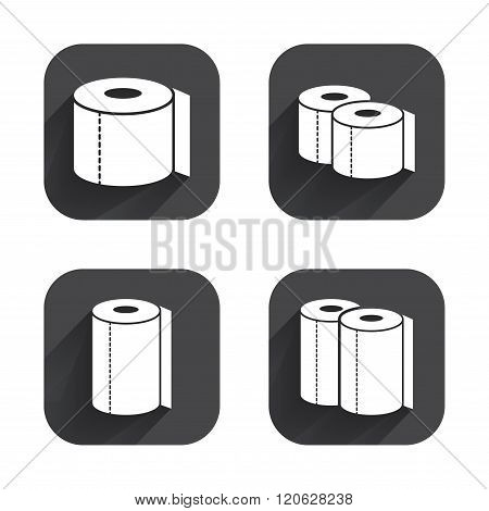 Toilet paper icons. Kitchen roll towel symbols.