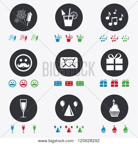 Party celebration, birthday icons. Music notes.