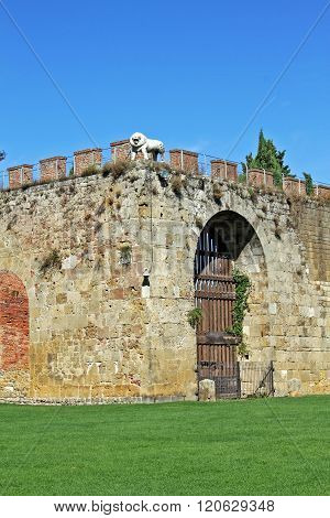 The Fortress Wall In Pisa, Italy