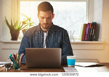 Entrepreneur Working At A Laptop Computer