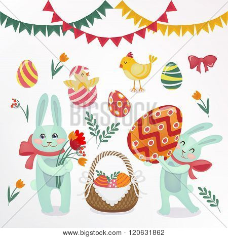 Happy Easter Set Of Elements - Rabbits, Eggs, Chicks, Flowers And Garlands
