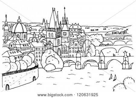 Prague Landscape with Bridges