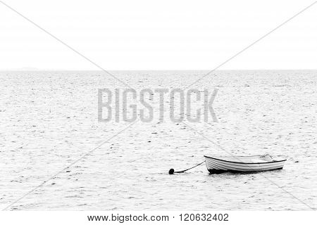 Black And White Image Of A White Boat On The Sea On The Way To Thisted, Denmark