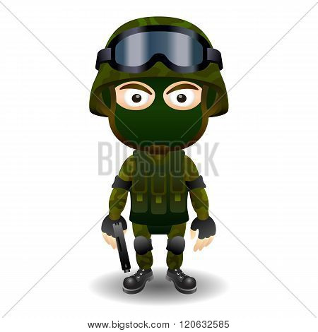 Soldier gun pistol military character combat black mask male