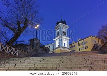 Night photo of churh from Nineteenth century Virgin Mary, Plovdiv, Bulgaria