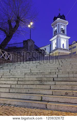 Night photo of belfry of Virgin Mary Church, City of Plovdiv, Bulgaria