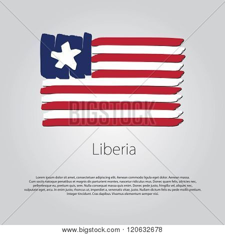 Liberia Flag With Colored Hand Drawn Lines In Vector Format