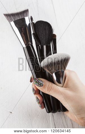 Make Up Brush Powder Blusher  In Woman Hand