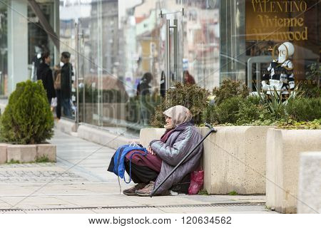 Homeless Begging Woman