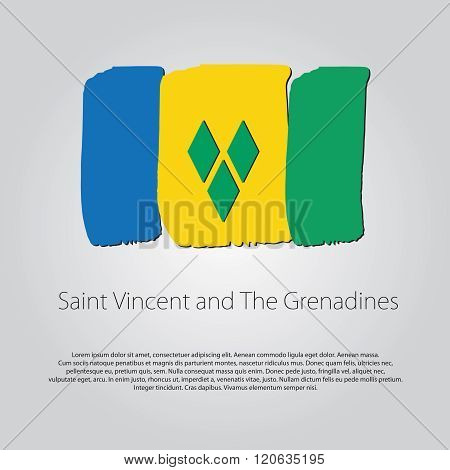 Saint Vincent And The Grenadines Flag With Colored Hand Drawn Lines In Vector Format.