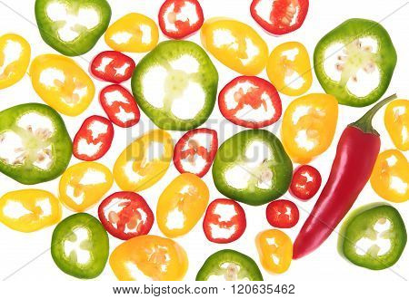 Different chili peppers sliced