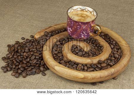 Morning hot espresso. Preparing a refreshing drink.