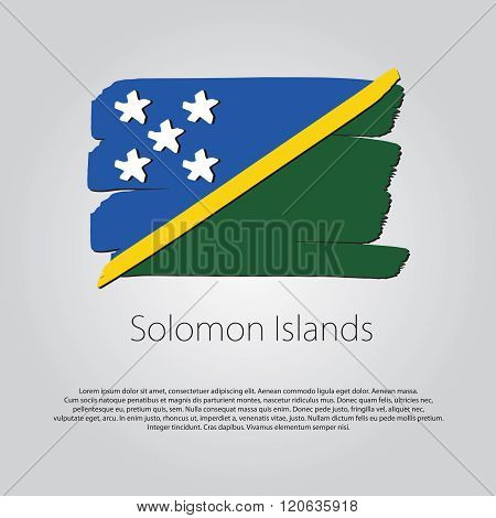 Solomon Islands Flag With Colored Hand Drawn Lines In Vector Format