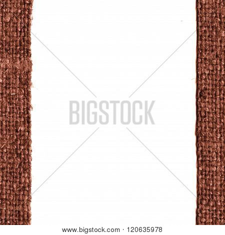 Textile frame, fabric fashion, fawn canvas, sackcloth material, close-up background
