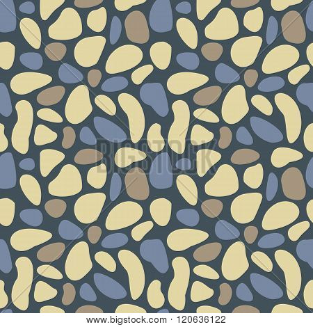Abstract pebble seamless pattern. Colorful stylized sea stones texture. EPS8 vector illustration includes Pattern Swatch.