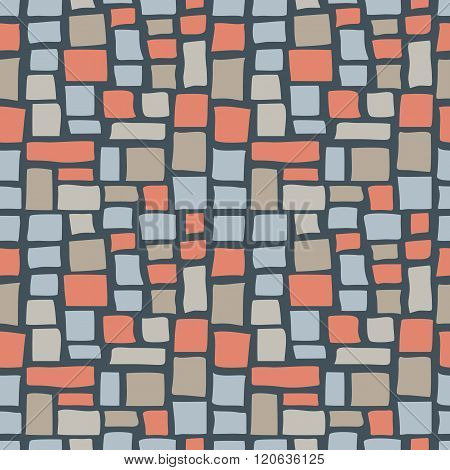 Abstract cobble tiled seamless pattern. Colorful stylized pavement stone bricks texture. EPS8 vector illustration includes Pattern Swatch.