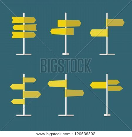 Set of 6 road signs flat icons. Collection of signpost icons in flat style. Blank templates for navigational text. EPS10 clean vector illustration.