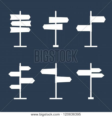 Set of 6 road signs silhouette icons. Collection of signpost shape icons. Blank templates for navigational text. EPS8 clean vector illustration.