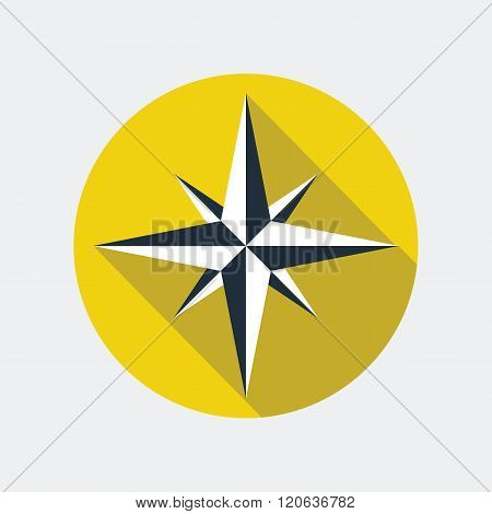 Wind rose flat icon. Vector icon of a navigational wind rose flat style with long shadow. EPS10 clean vector illustration.