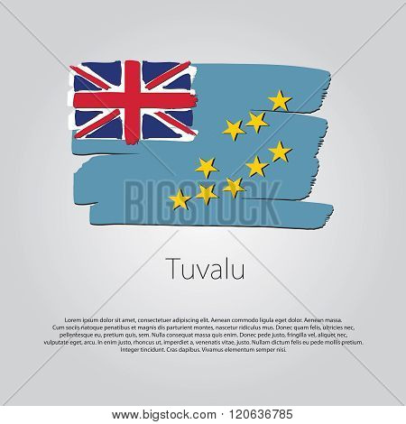 Tuvalu Flag With Colored Hand Drawn Lines In Vector Format