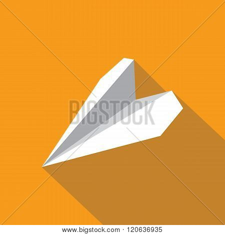 Paper plane navigational flat icon sign. Paper origami airplane symbol. Vector icon of a papercraft plane in flat style with long shadow. EPS10 vector illustration.