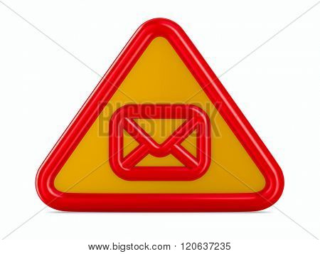 envelope traffic sign on white background. Isolated 3D image