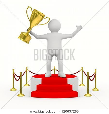 man with cup on podium. Isolated 3D image