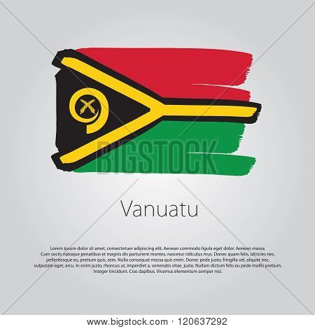 Vanuatu Flag With Colored Hand Drawn Lines In Vector Format