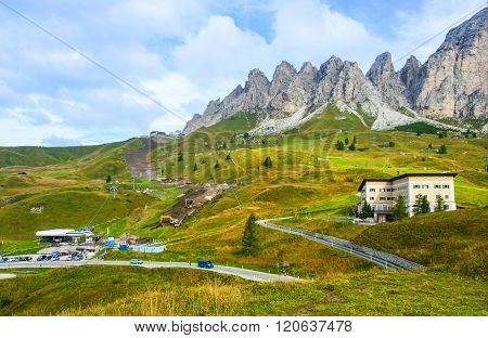 Dolomites, Italy - September 6, 2012: The Great Dolomite Road is a breathtaking scenic drive that crosses the alpine passes, connecting the Bozen and Bolzano regions.