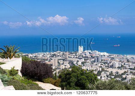 Seaview From Mountain. Cityscape. Haifa