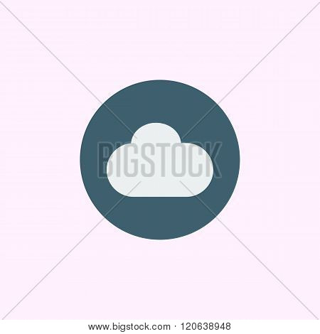 Cloud Icon, On Blue Circle Background, White Outline