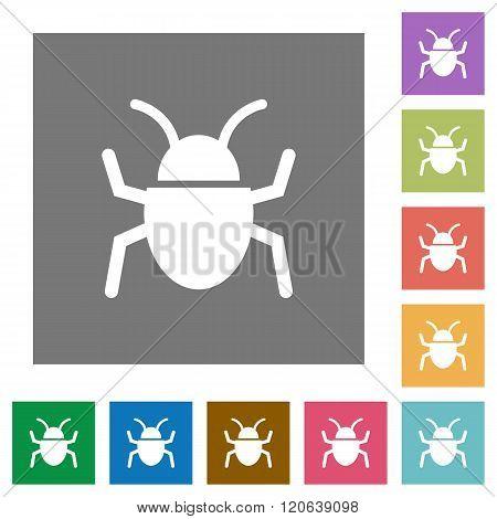 Bug Square Flat Icons