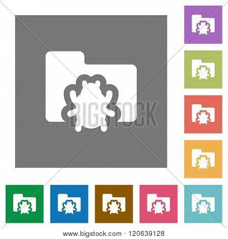 Bug Folder Square Flat Icons