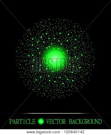 Abstract Shpere Of Acid Green Glowing Light Particles Space Black Background. Galaxy Symbol.  Style