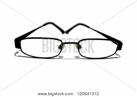 geek black framed reading glasses isolated on a white background